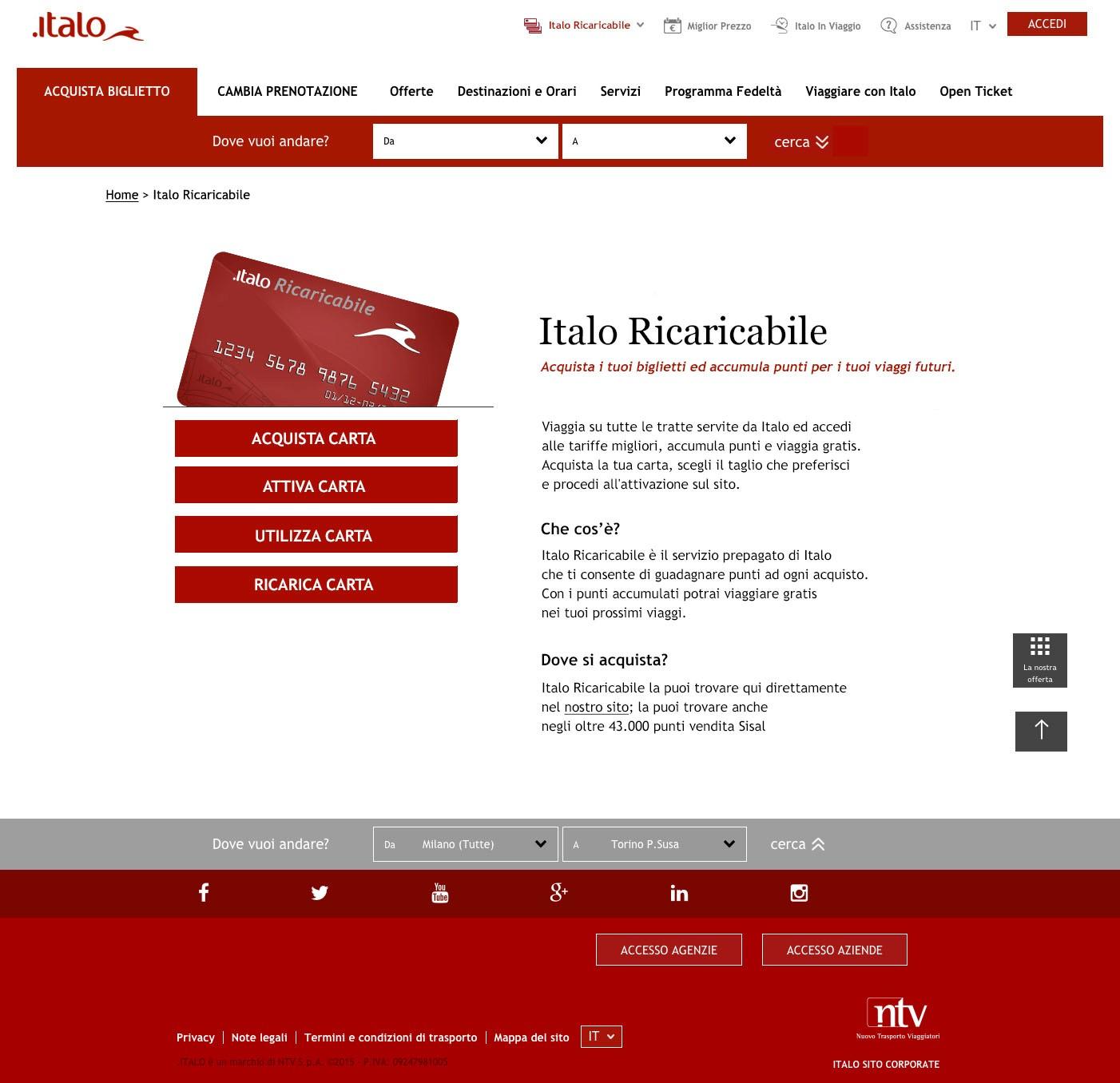 Italo carta ricaricabile Domec